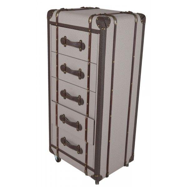 meuble de rangement style malle 5 tiroirs taupe mobilier. Black Bedroom Furniture Sets. Home Design Ideas