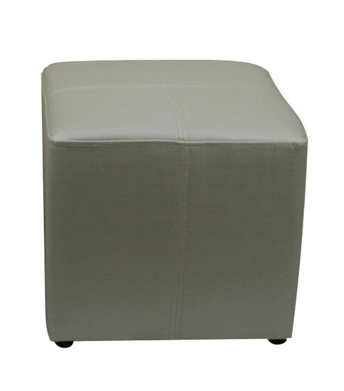 Pouf carré Blanc aspect soie - So Skin