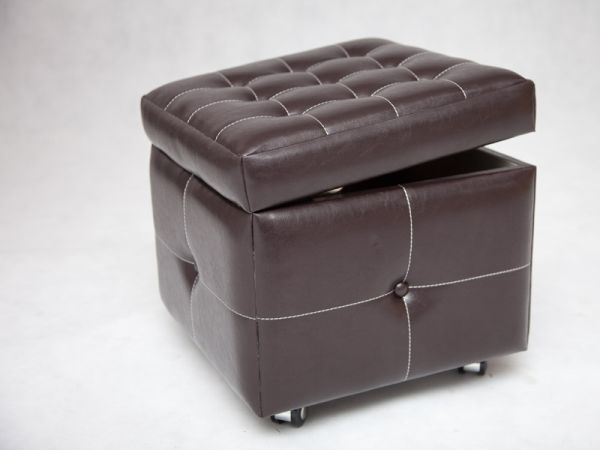 pouf de rangement so skin aspect cuir marron mobilier. Black Bedroom Furniture Sets. Home Design Ideas
