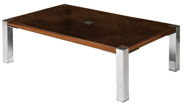 table basse aspect croco et inox marron so skin. Black Bedroom Furniture Sets. Home Design Ideas