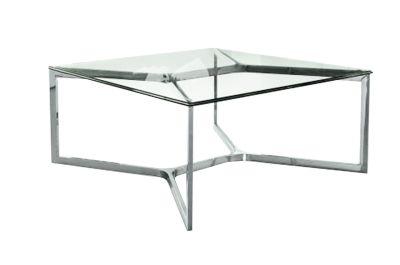 Table Basse Inox Et Verre Trempe Carre Croisements 80x80 So Skin