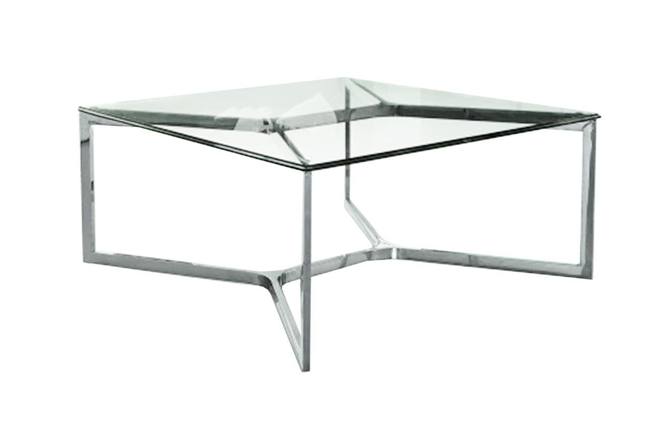Table basse inox et verre tremp carr croisements 80x80 for Table khi carre