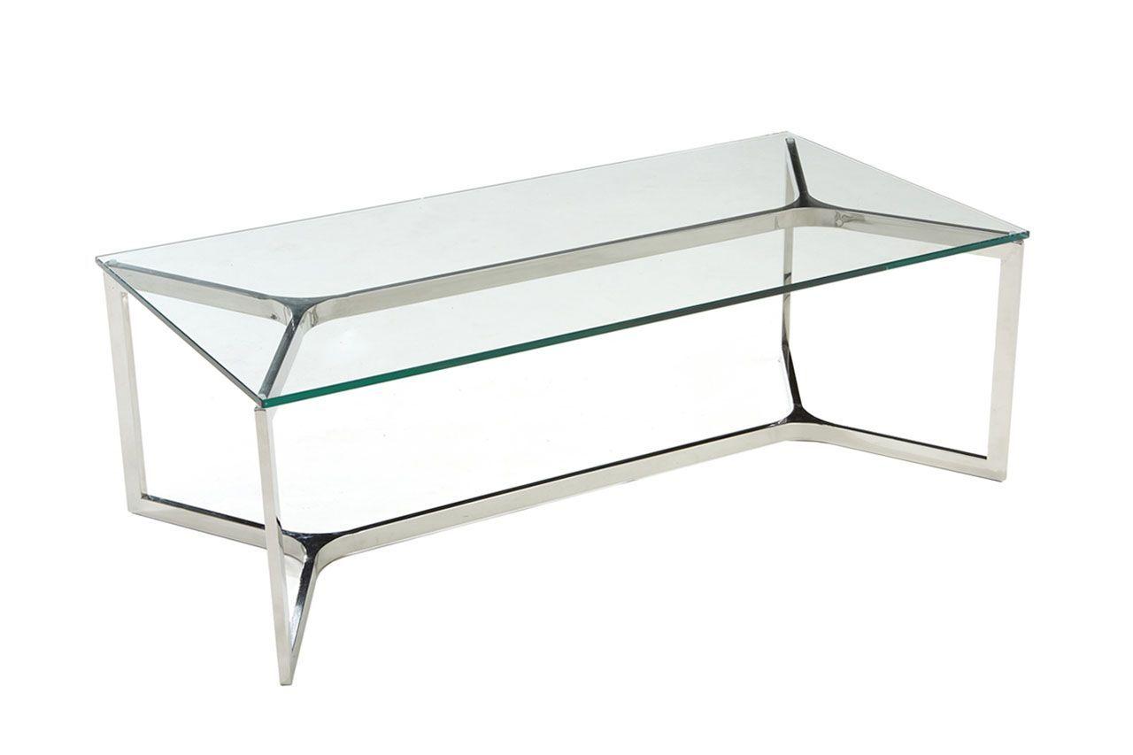 Table Basse En Inox avec table basse inox et verre trempé rectangle croisements 120x60
