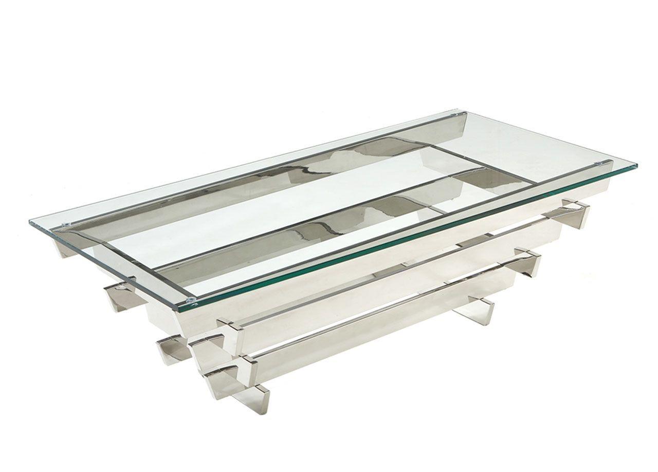 Table Basse En Inox avec table basse inox et verre trempé rectangle quadrillage 120x60