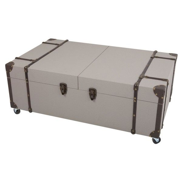 Table basse style malle taupe so skin - Table basse malle fly ...