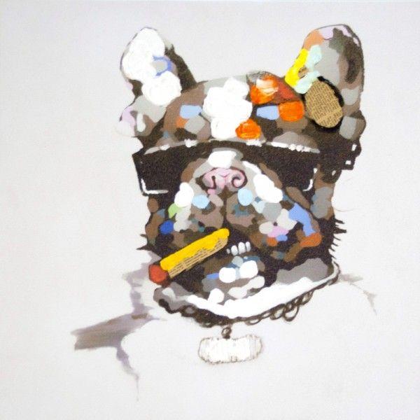 Tableau toile Contemporain Chien cigare - So Skin