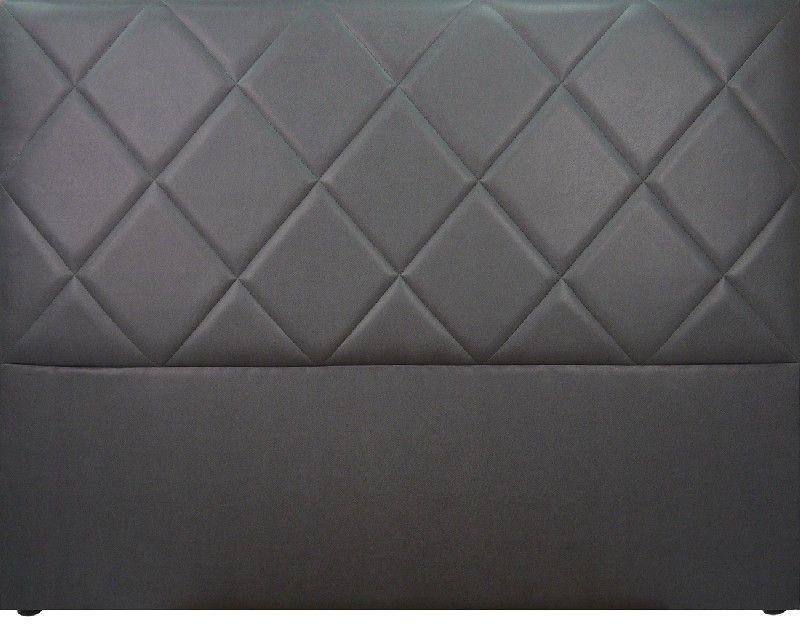 t te de lit capitonn e saffiano aspect cuir gris. Black Bedroom Furniture Sets. Home Design Ideas