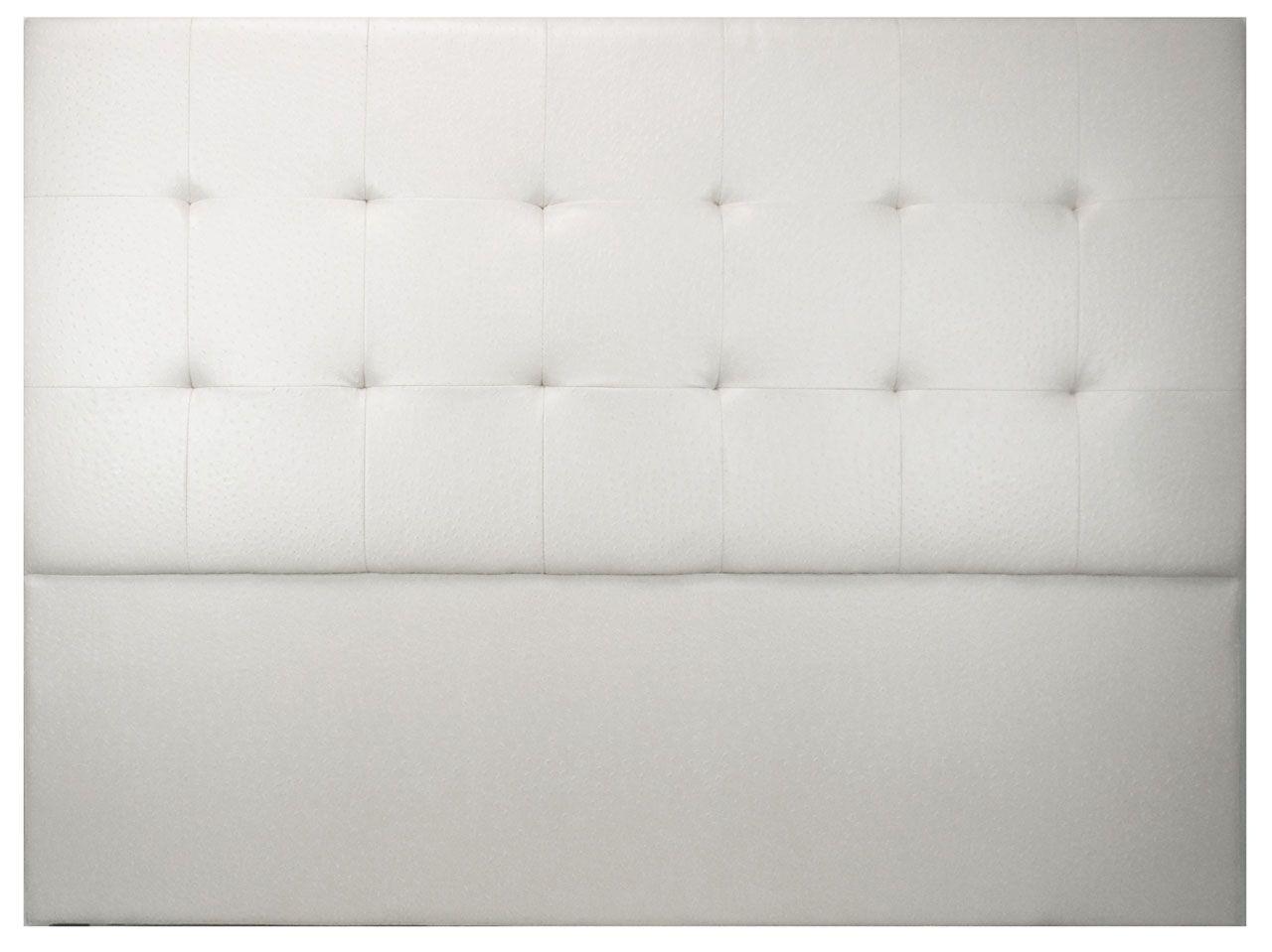 t te de lit capitonn e tudor aspect autruche blanc 140. Black Bedroom Furniture Sets. Home Design Ideas