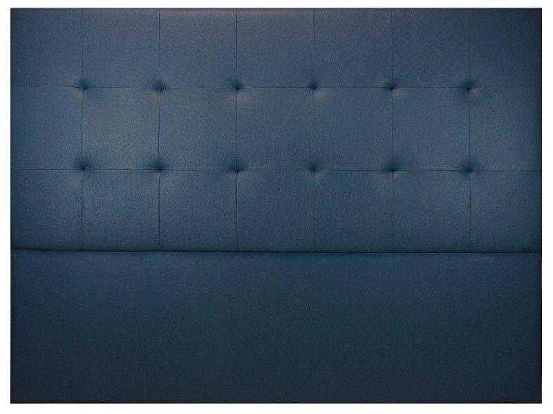 t te de lit capitonn e tudor aspect autruche bleu fonc. Black Bedroom Furniture Sets. Home Design Ideas