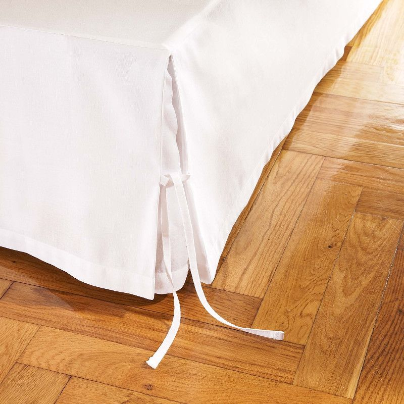 Cache sommier lin Cachou Blanc 200x200   Linge de maison