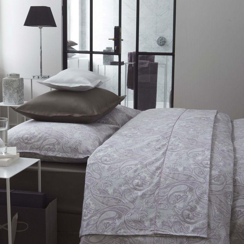 drap de lit percale darjeeling parme 180x290 linge de maison. Black Bedroom Furniture Sets. Home Design Ideas