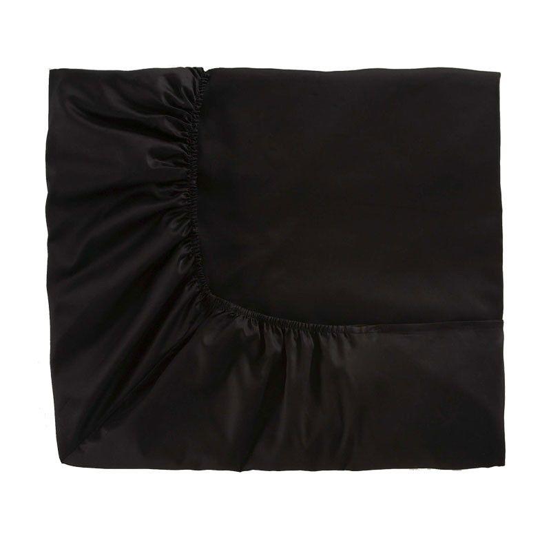 drap housse satin 140x200 Drap housse Teo Noir satin de coton 140x200   Alexandre Turpault drap housse satin 140x200