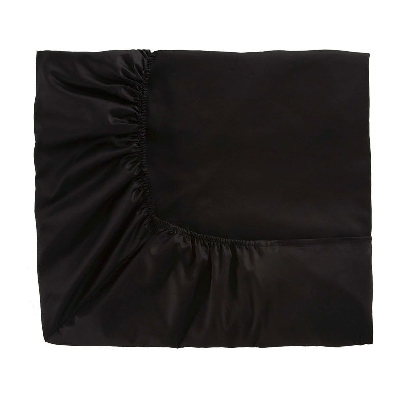 Drap housse Teo Noir satin de coton 160x200   Linge de maison