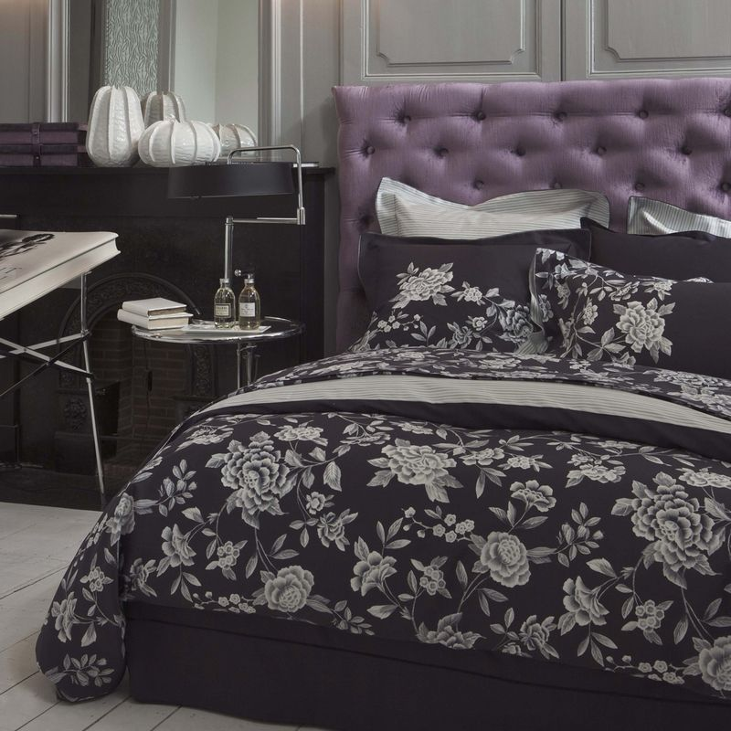 housse de couette satin de coton broc liande brume 200x200 linge de maison. Black Bedroom Furniture Sets. Home Design Ideas