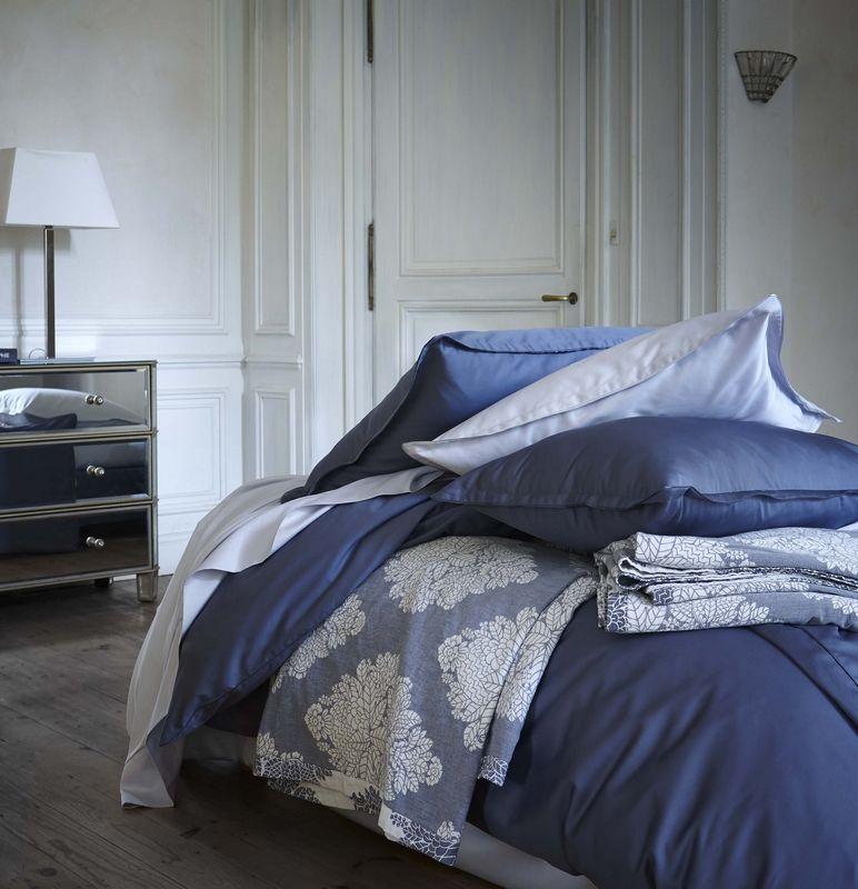 housse de couette unie teo marine 140x200 linge de maison. Black Bedroom Furniture Sets. Home Design Ideas