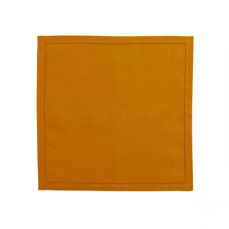 Serviette de table lin florence mandarine 50x50 - Serviette table lin ...