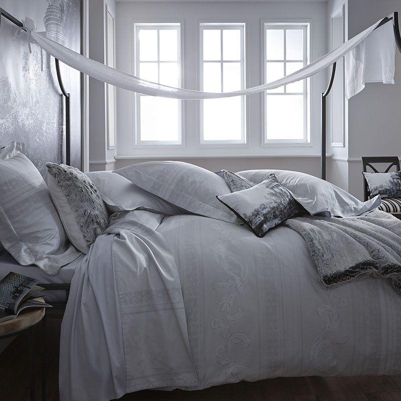 taie d 39 oreiller jacquard satin de coton vend me platine 65x65. Black Bedroom Furniture Sets. Home Design Ideas