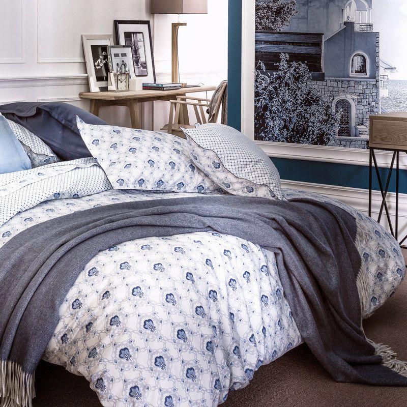 taie d 39 oreiller lin victoire azur 50x75 linge de maison. Black Bedroom Furniture Sets. Home Design Ideas