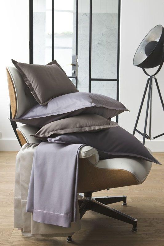 taie d 39 oreiller unie teo acier 50x75 linge de maison. Black Bedroom Furniture Sets. Home Design Ideas