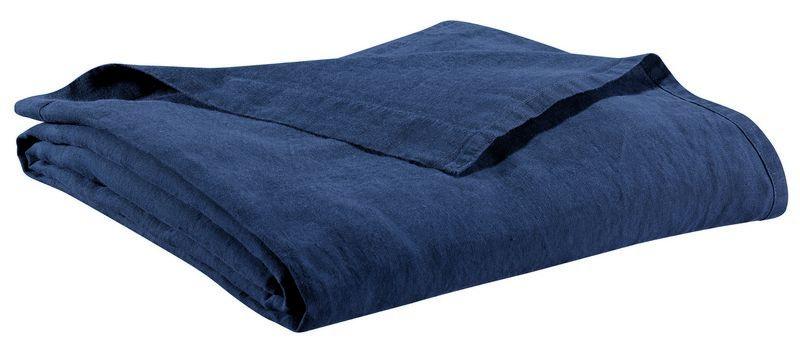 drap de lit en lin stonewashed z phyr navy 240x300 linge de maison. Black Bedroom Furniture Sets. Home Design Ideas