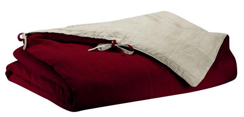 housse de couette en lin stonewashed z phyr bordeaux 240x220 linge de maison. Black Bedroom Furniture Sets. Home Design Ideas