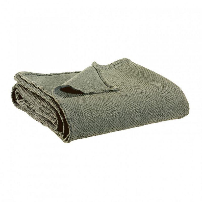 jet de lit coton et lin stonewashed boris kaki 240x260. Black Bedroom Furniture Sets. Home Design Ideas