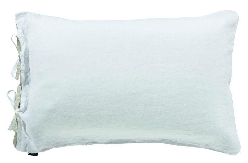 taie d 39 oreiller en lin stonewashed z phyr blanc 80x80 linge de maison. Black Bedroom Furniture Sets. Home Design Ideas