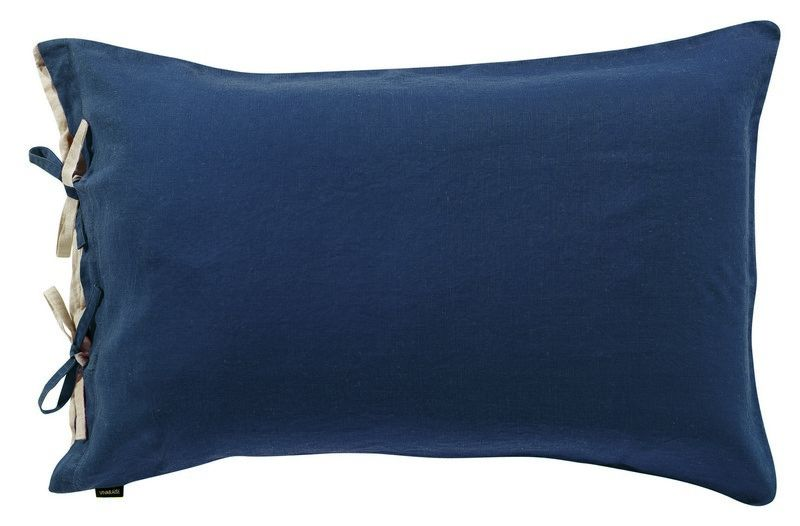 taie d 39 oreiller en lin stonewashed z phyr navy 50x75 linge de maison. Black Bedroom Furniture Sets. Home Design Ideas