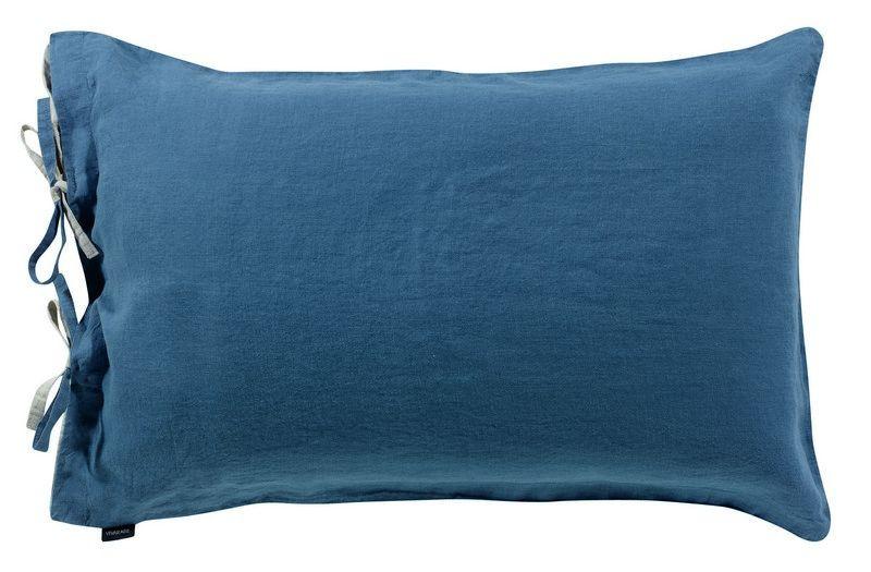taie d 39 oreiller en lin stonewashed z phyr outremer 50x75 linge de maison. Black Bedroom Furniture Sets. Home Design Ideas