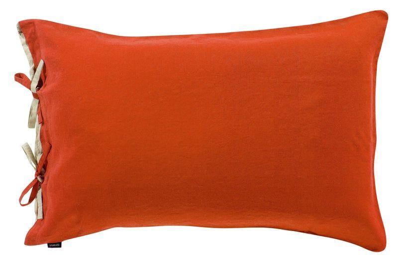 taie d 39 oreiller en lin stonewashed z phyr potiron 50x75 linge de maison. Black Bedroom Furniture Sets. Home Design Ideas