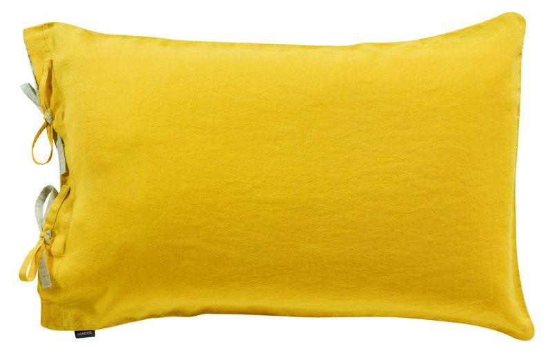 taie d 39 oreiller en lin stonewashed z phyr tournesol 80x80 linge de maison. Black Bedroom Furniture Sets. Home Design Ideas