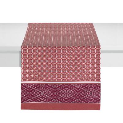 chemin de table cedra coton motifs g om triques rouge lie de vin 50x150 linge de maison. Black Bedroom Furniture Sets. Home Design Ideas