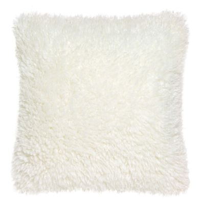 coussin dolly fausse fourrure polyester uni blanc neige 45x45 d coration. Black Bedroom Furniture Sets. Home Design Ideas