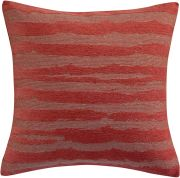 Coussin Hindi coton velours jacquard rayures rouge Tomette 45x45 - Winkler