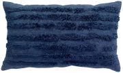 Coussin Waka viscose/coton rayures velours bleu Encre 30x50 - Winkler