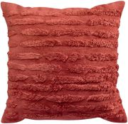 Coussin Waka viscose/coton rayures velours rouge Tomette 45x45 - Winkler