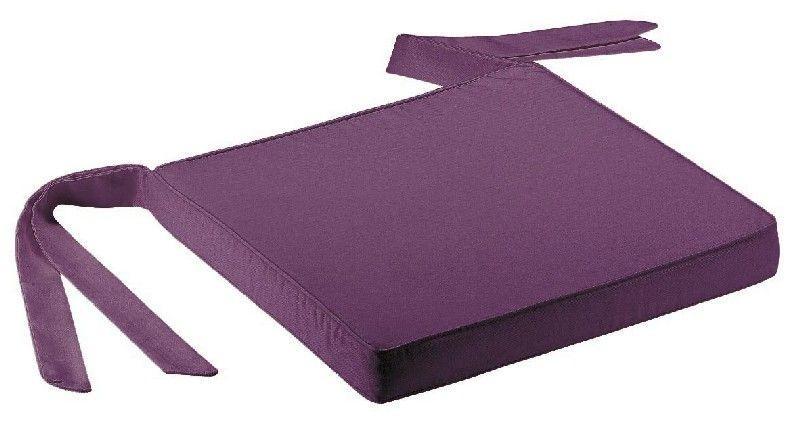 galette de chaise ruban aubergine 40x40 - Coussin De Chaise 40x40