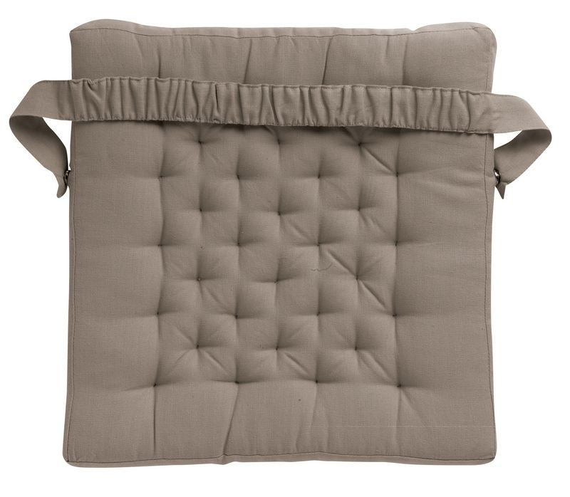 galette de chaise smocks taupe coton winkler. Black Bedroom Furniture Sets. Home Design Ideas