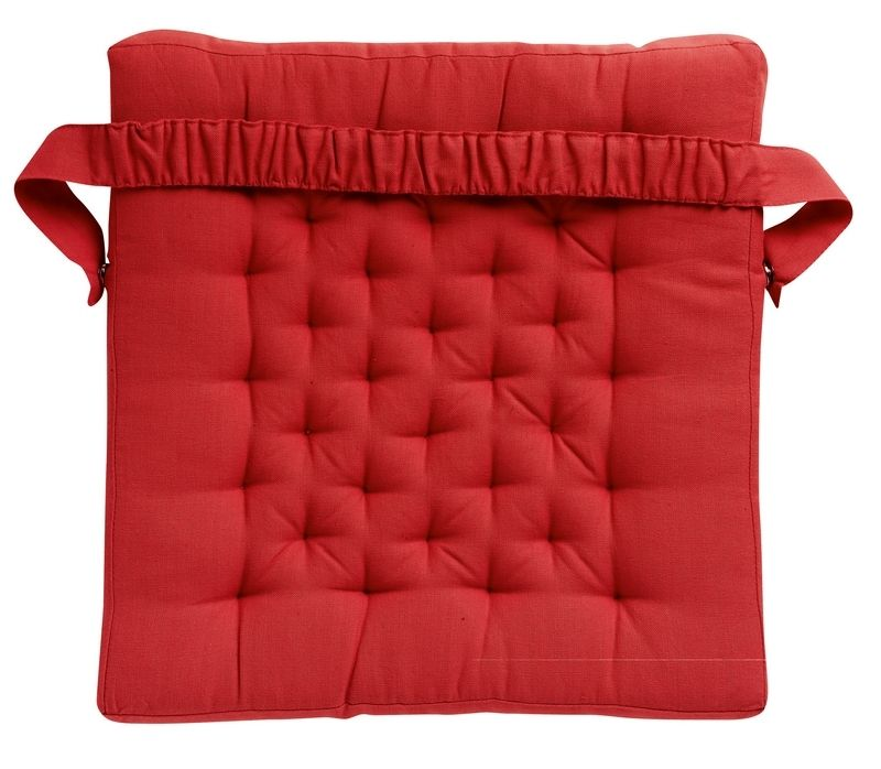 galette de chaise coton smocks rouge winkler. Black Bedroom Furniture Sets. Home Design Ideas