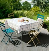 Nappe enduite Patio ficelle/turquoise 170x170 - Winkler