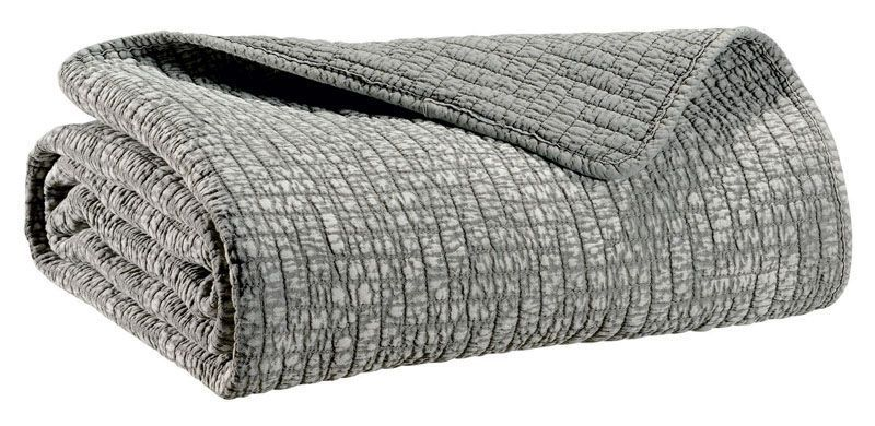 plaid sadi gris coton 140x180 linge de maison. Black Bedroom Furniture Sets. Home Design Ideas
