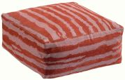 Pouf Hindi coton velours jacquard rayures rouge Tomette - Winkler