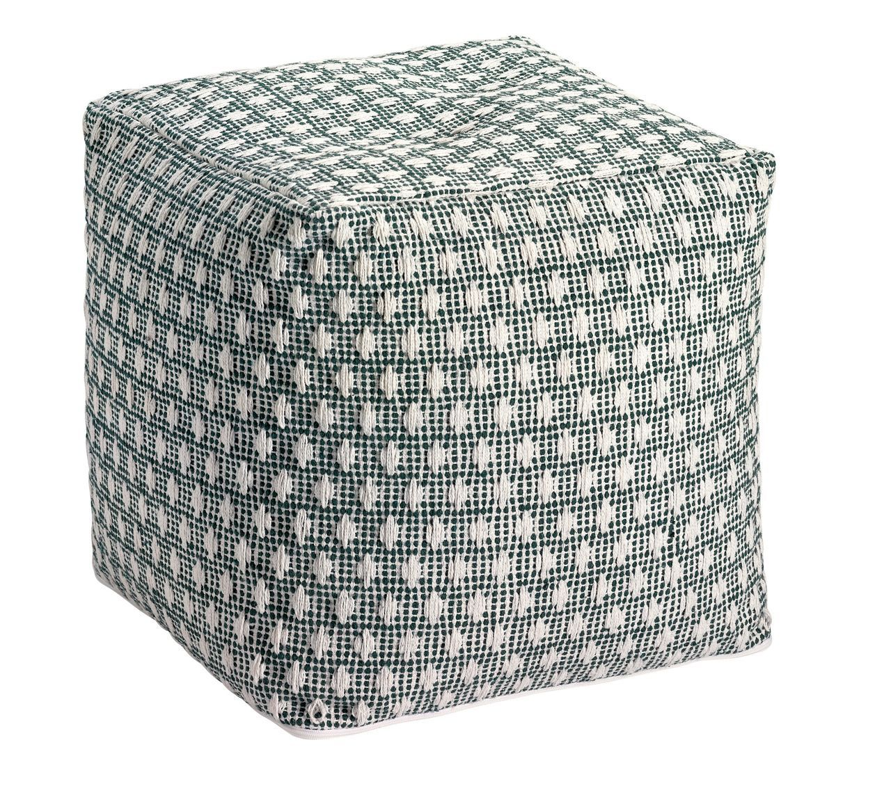 pouf moor a vert mousse broderies ethniques coton winkler. Black Bedroom Furniture Sets. Home Design Ideas