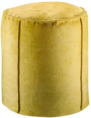 Pouf Velor velours viscose et coton uni jaune curry - Winkler