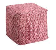 Pouf coton broderies ethniques Mooréa rouge framboise - Winkler