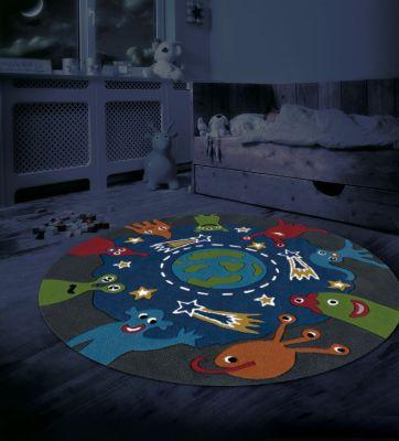 tapis kids line spirit glowy 1 bleu rond 130x130 d coration. Black Bedroom Furniture Sets. Home Design Ideas