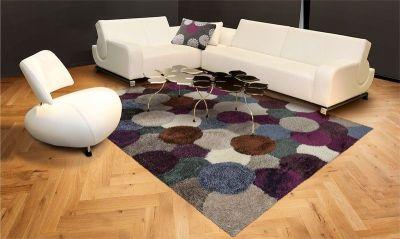 Tapis Lounge Collection ~ Dance Shaggy Violet/Gris carré 200x200