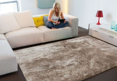tapis lounge collection swing shaggy taupe 140x200 - Tapis Taupe