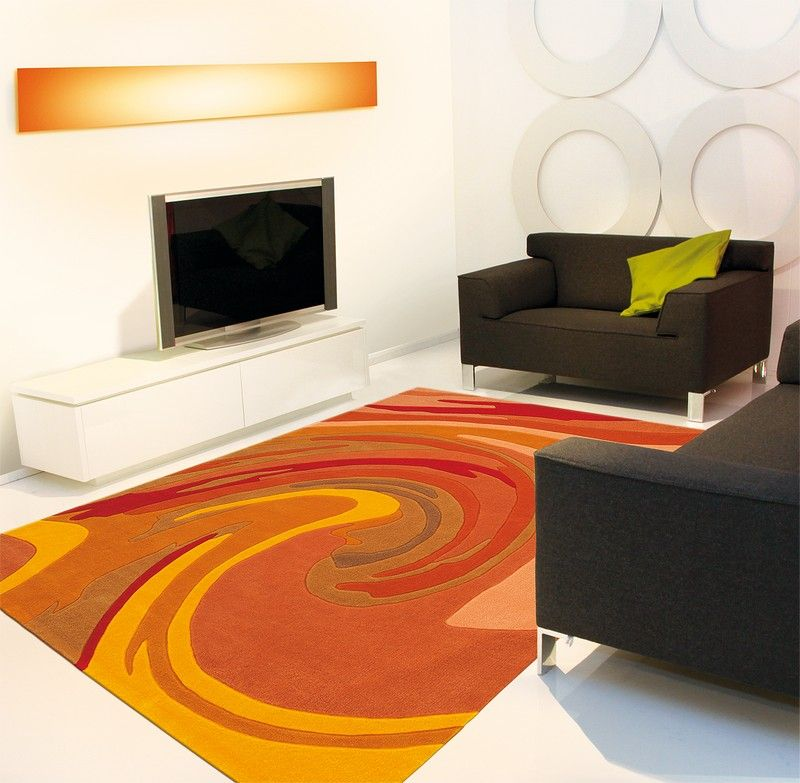 Tapis modern line action painting orange joy 90x160 - Tapis toulemonde bochart soldes ...