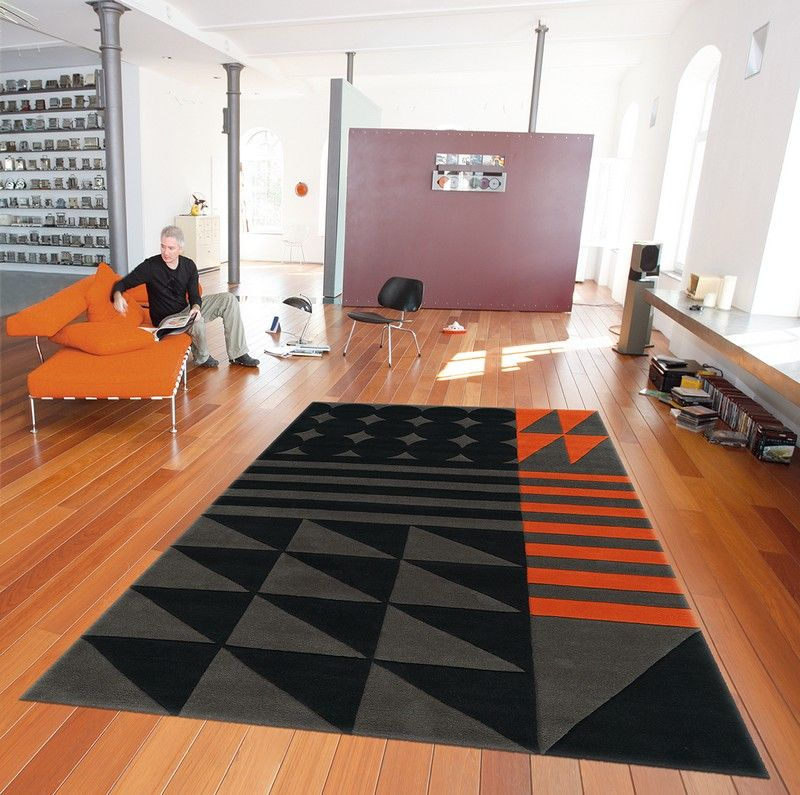 tapis modern line ethno pop noir gris orange spirit 90x160 d coration. Black Bedroom Furniture Sets. Home Design Ideas